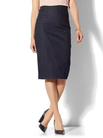 7th Avenue - Lace-Up Pencil Skirt in Hidden Blue