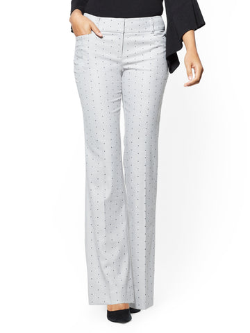 7th Avenue Pant - Boot cut - Modern - Grey Dot Print in Grey