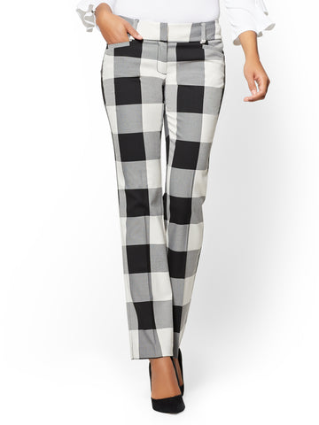 7th Avenue Pant - Straight Leg - Gingham in Black/White