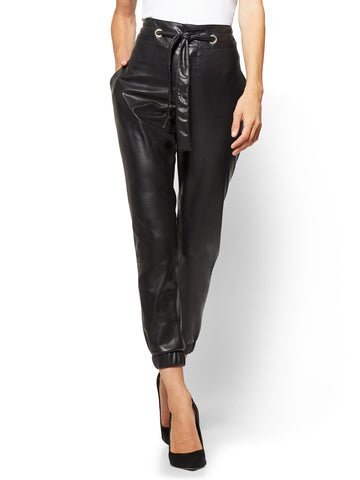 Soho Jeans - Paperbag-Waist Faux-Leather Pant  in Black