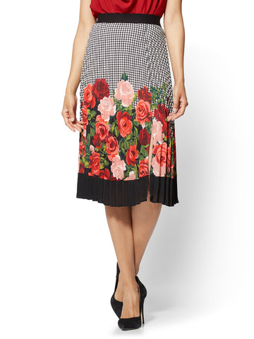 7th Avenue - Mixed-Print Pleated Skirt  in Black