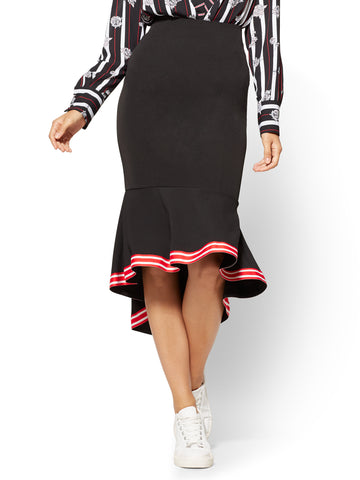 Racing-Stripe Flounced Skirt  in Black