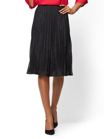 Pleated Metallic Skirt - Black in Black