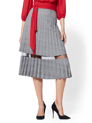 7th Avenue - Mesh-Inset Plaid Pleated Skirt in Red