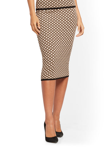 Geo-Print Sweater Skirt - 7th Avenue in Classic Camel