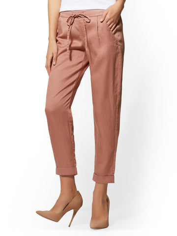 Olive Soft Ankle Pant in Old Rose