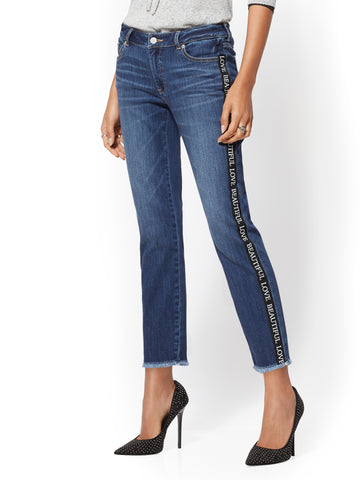 Soho Jeans - Print Trim Curvy Boyfriend in Blue Oasis Wash