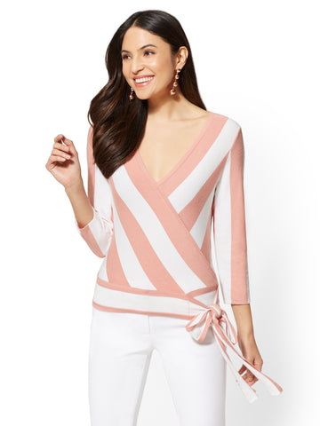 7th Avenue - Striped V-Neck Wrap Sweater in Island Rose