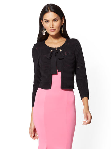7th Avenue - Tie Front Dress Cardigan in Black