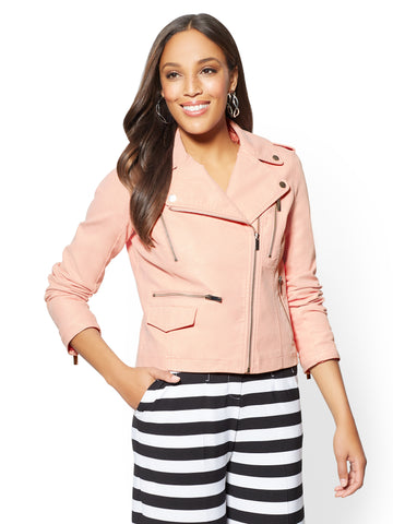 Sueded Faux-Leather Moto Jacket in Pink Sand