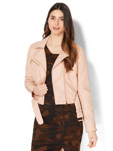 Cropped Moto Jacket in Creamy Blush