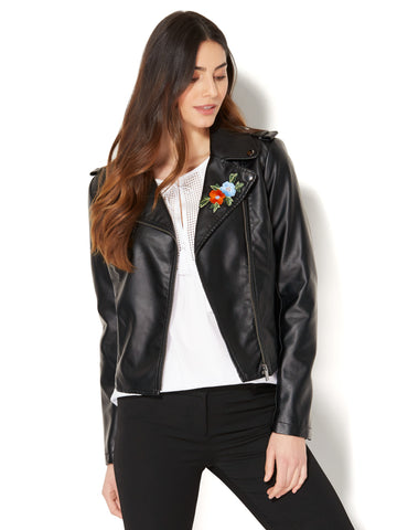 Embroidered Faux-Leather Moto Jacket in Black