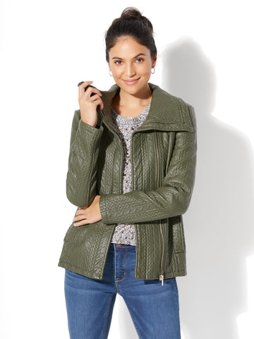 Textured Faux-Leather Jacket in Woodland Green