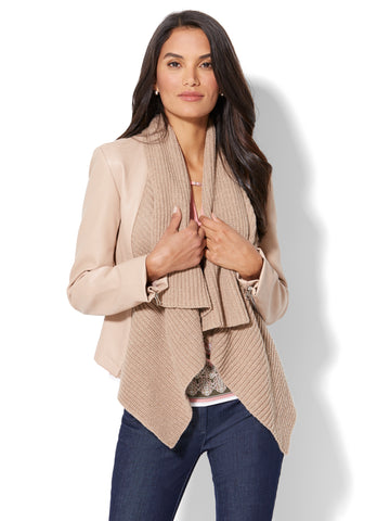 Shawl-Collar Faux-Leather Jacket  in Mocha Cream