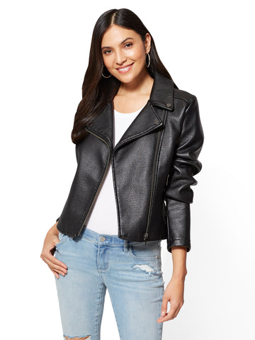 Textured Moto Jacket in Black