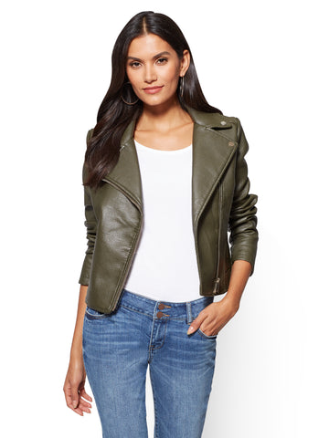 Textured Moto Jacket in Auxiliary Green