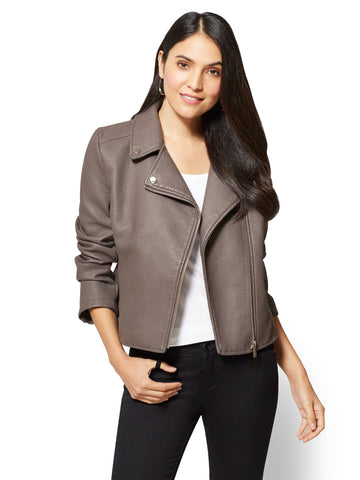 Textured Moto Jacket in Grey Idea