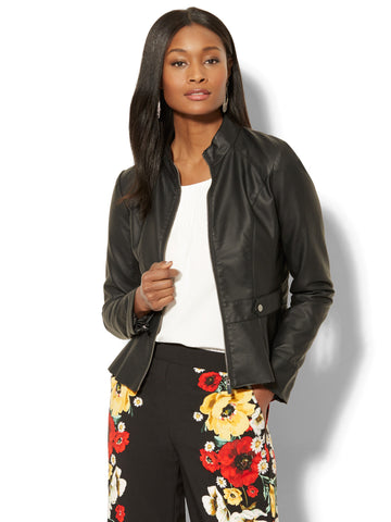 Pleated Faux-Leather Peplum Jacket in Black