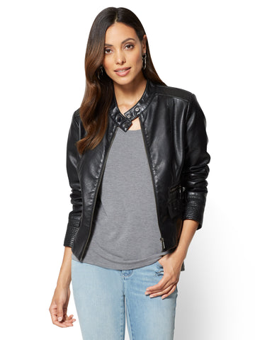 Zip-Front Moto Jacket  in Black