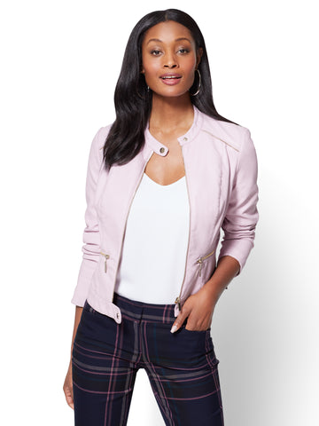Zip-Accent Faux Leather Moto Jacket in Cool Lavender