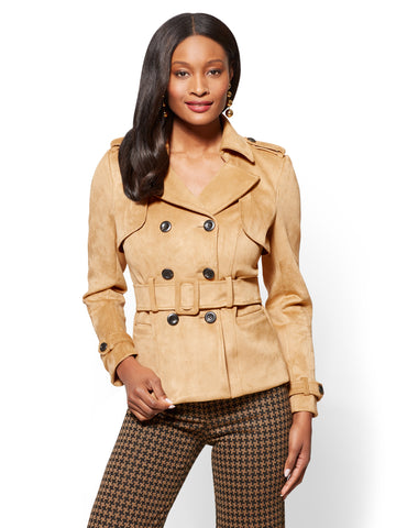 Short Faux-Suede Trench Coat - Camel in Classic Camel