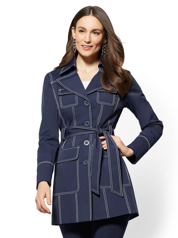Contrast Topstitched Trench Coat - Navy in Grand Sapphire