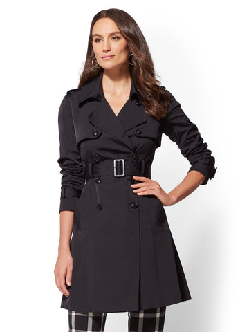 7th Avenue - NY Trench Coat - Double-Breasted in Black