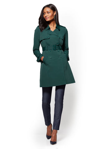 NY Trench Coat - Double-Breasted in Velvet Green