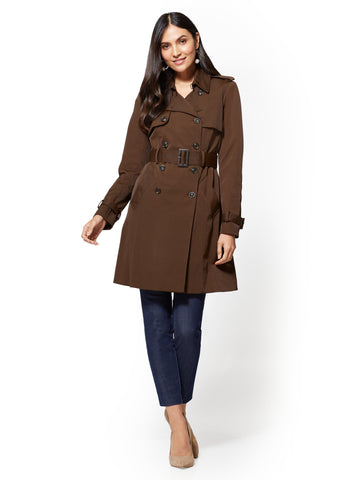 NY Trench Coat - Double-Breasted in Dark Brown