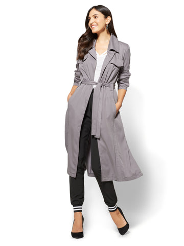 Long Belted Soft Trench Coat  in Carlson Grey