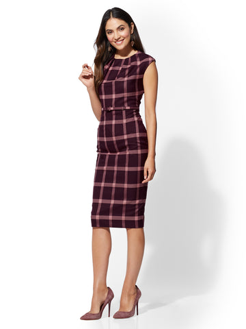7th Avenue - Maroon Plaid Sheath Dress  in True Burgundy