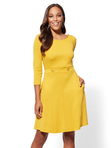 Button-Accent Fit and Flare Dress in Gold Award