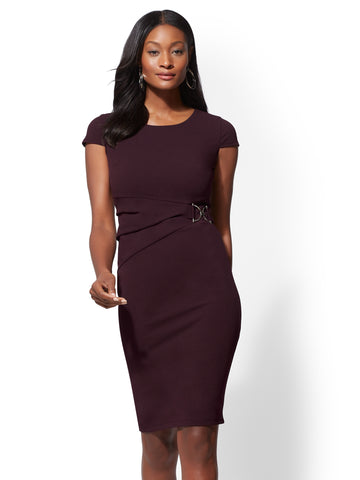 7th Avenue - Cap-Sleeve Sheath Dress in True Burgundy