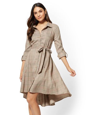 NEW YORK   COMPANY Camel Plaid Hi-Lo Shirtdress in Classic Camel 25c556950
