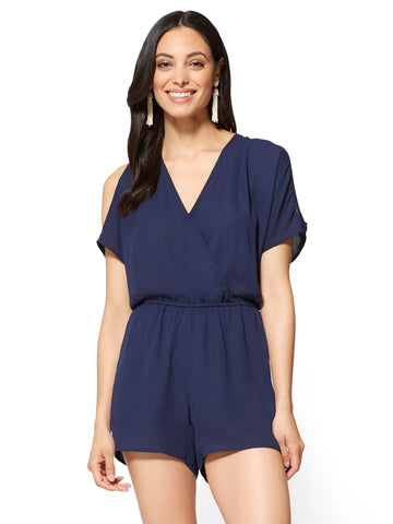 Cold-Shoulder Romper in Grand Sapphire