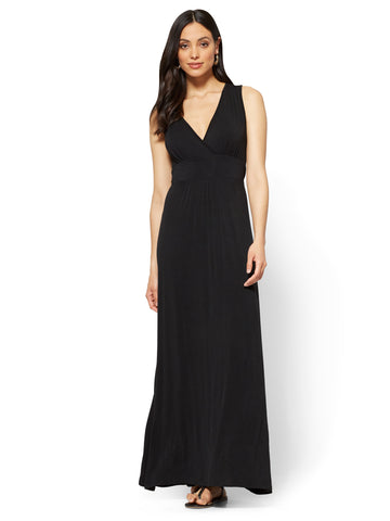Wrap-Front Maxi Dress in Black