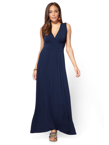 Wrap-Front Maxi Dress in Grand Sapphire