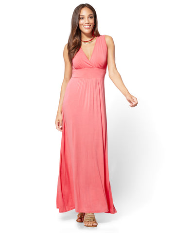 Wrap-Front Maxi Dress in Rose Hill
