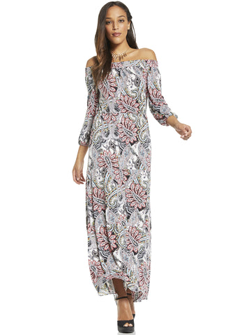 Off-The-Shoulder Maxi Dress - Paisley in Black