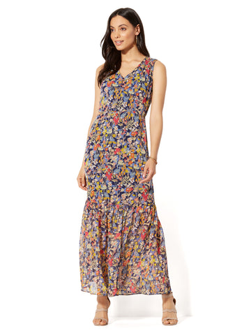 V-Neck Maxi Dress in Floral Stripes-Multi