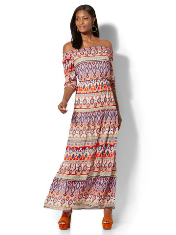 Off-The-Shoulder Maxi Dress - in Stripes-Multi