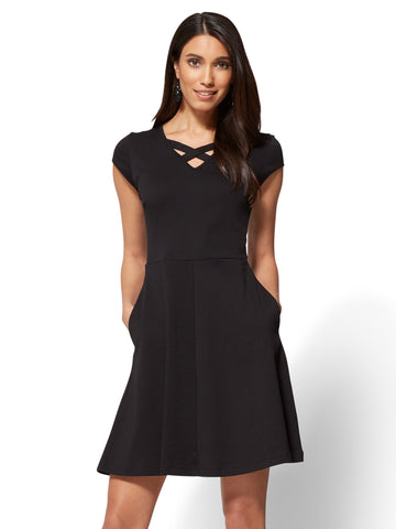 Cotton Crisscross V-neck Fit & Flare Dress in Black