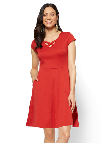 Cotton Crisscross V-neck Fit & Flare Dress in Stoplight Red