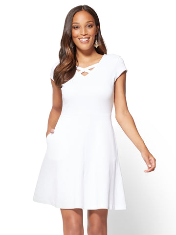 Cotton Crisscross V-neck Fit & Flare Dress in Optic White