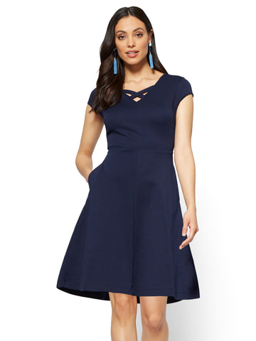 Cotton Crisscross V-neck Fit & Flare Dress in Grand Sapphire