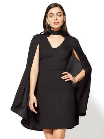 Cape Sheath Dress in Black
