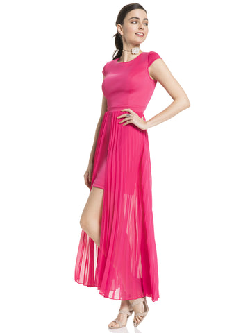 Pleated Overlay Maxi Dress in Pink