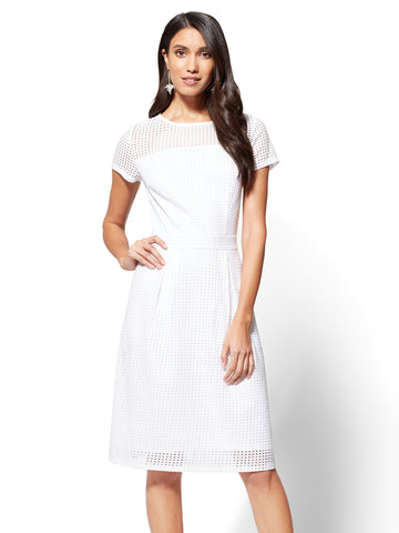 Open-Stitch Fit & Flare Dress in Paper White