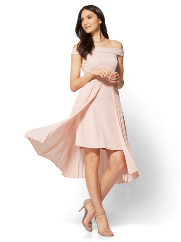 Off-The-Shoulder Pleated Overlay Dress in Pink Ambrosia