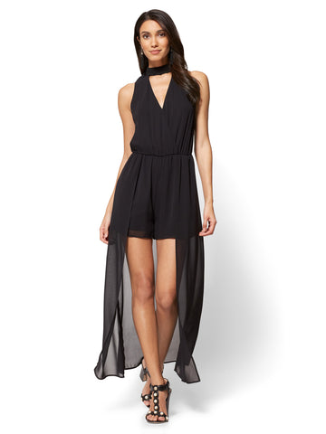 Crochet-Accent Chiffon Overlay Romper in Black